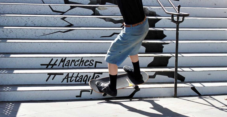 Covering escalier pour une opération de guérilla marketing
