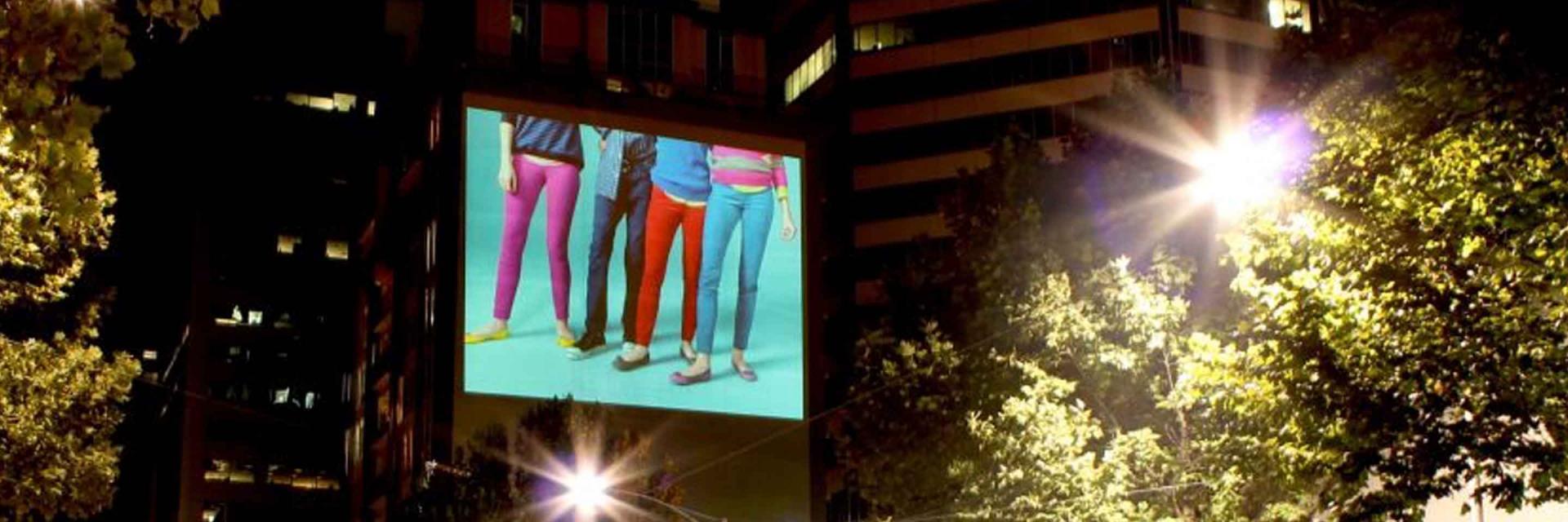 Guerilla marketing vidéo projection