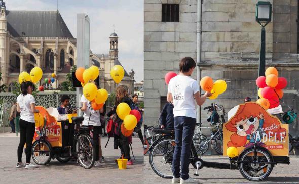 Distribution de ballon pour une opération de street marketing